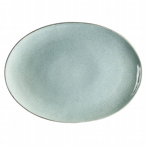 Stoneware Oval Platter - Light Blue & Grey